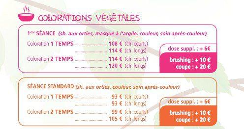 Prix des colorations végétales Biocoiff'