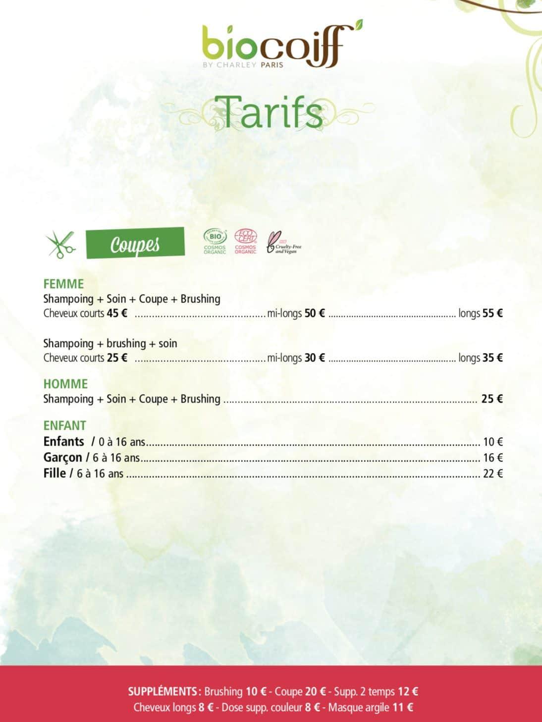 biocoiff tarifs frejus 2